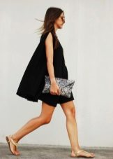 Evening black trapeze dress with clutch envelope