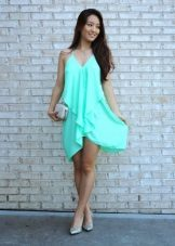 Evening turquoise trapeze dress with clutch