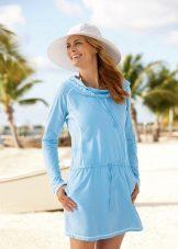 השמלה טוניקה חוף כחול עם שרוולים