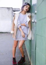 Knitted purple dress-tunic