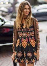 Etninen printti pitkähihainen lyhyt mekko