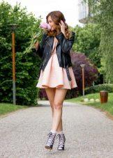 Leather jacket to dress with a high waist