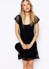 Black flared knitted dress
