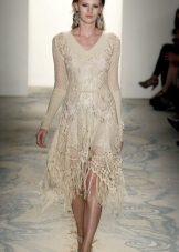 Beige flared strikket kjole