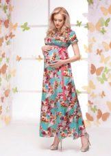 Spalvų pavasario suknelė nėščioms moterims