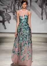 Vestuvinė suknelė su žalia spalva