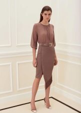 Spring dress asymmetrical brown