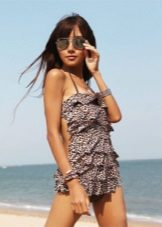 Leopard print bathing dress
