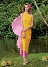 Лятна плажна жълта рокля