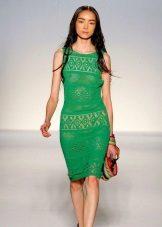 плетена лятна рокля зелена