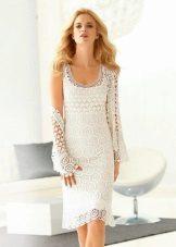плетена лятна рокля бяла