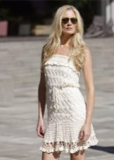vestido de bandeau de malha de verão