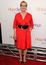Vestido de verão para as mulheres 50 anos de idade vermelho