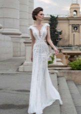 Sommar spetsar bröllopsklänning med halsringning