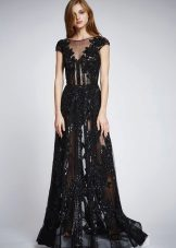 Sommar sexig genomskinlig spets klänning