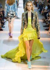 Vestido de verão alto-baixo amarelo