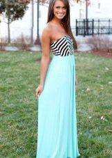 Шифон Пола Дълга двуцветна рокля на Бандо