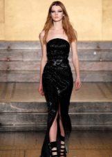 Aften stroppeløs kjole med spalt