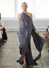 Vestido de jersey com cortina assimétrica