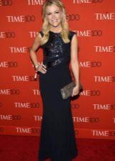 Lang blå kjole med en farget sequin topp for firma