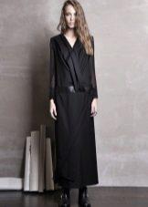 Lange zwarte jurk met lage taille