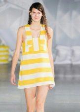 Stripet gul og hvit kjole, sundress