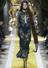 Vestido Crepe de Chine com padrão