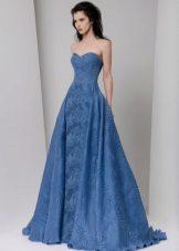 Vestido de crepe de Chine blue