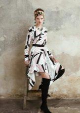 Vestido curto crepe de chine com estampa