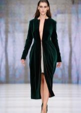 Winter evening dress with a slit