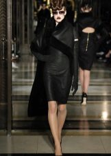Outerwear vestido de couro preto