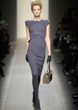 Dark tights to a gray dress