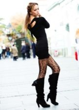Black with a pattern of panty hoses for a black dress