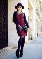 Black tights to a red dress