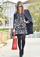 Black tights to black and white dress