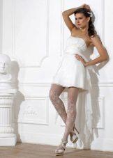 Tights under a short wedding dress