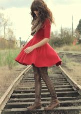 Brown tights for a red dress