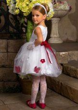 Vestido de verão elegante fofo para meninas branco com uma impressão