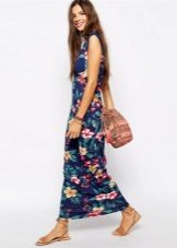 Fashionable long dress of spring-summer 2016 with floral print
