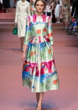 Fashionable dress of autumn-winter 2016 with an unusual print