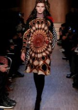 Fashionable dress of the season autumn-winter 2016 with an ethnic pattern