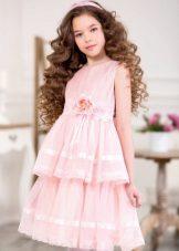 Vestido elegante para a menina rosa curta