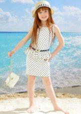 Vestido reto elegante com bolinhas para meninas