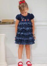 Elegante vestido multi-camadas com bolinhas para meninas
