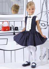 Vestido azul elegante com bolinhas brancas para meninas