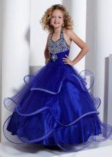 Azul com strass vestido para baile de formatura 4 classe