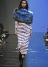 Fur cape to a long dress