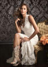Botas brancas para vestido de renda estilo country