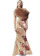 Fur Cape ja Beige Sheath Dress