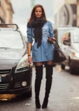 Scarf Denim Shirt Dress